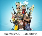 luggage  goods for holidays ... | Shutterstock . vector #358308191