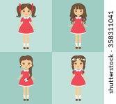 girl set in red dress | Shutterstock .eps vector #358311041