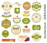 set of fresh organic label and... | Shutterstock .eps vector #358315484
