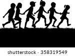 children silhouettes. | Shutterstock .eps vector #358319549