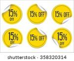 15 percent off yellow paper... | Shutterstock .eps vector #358320314