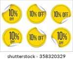 10 percent off yellow paper... | Shutterstock .eps vector #358320329