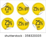 25 percent off yellow paper... | Shutterstock .eps vector #358320335