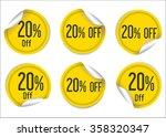 20 percent off yellow paper... | Shutterstock .eps vector #358320347