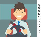 business man driving a car... | Shutterstock .eps vector #358323761