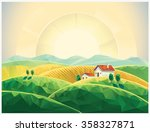 summer rural sunrise landscape... | Shutterstock .eps vector #358327871