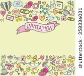 doodle wedding invitation card  ... | Shutterstock .eps vector #358336031