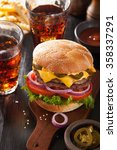 double cheese burger with... | Shutterstock . vector #358337291