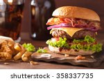 bacon cheese burger with beef...   Shutterstock . vector #358337735