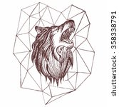 geometric vintage wolf predator ...   Shutterstock .eps vector #358338791