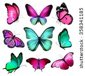 Nine Turquoise Pink Butterflie...