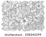 doodle floral pattern in black... | Shutterstock .eps vector #358344299