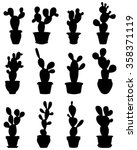 silhouettes of cactus at potted ... | Shutterstock .eps vector #358371119