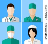 doctor and nurse icons. flat...   Shutterstock .eps vector #358378241