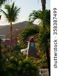Small photo of Gustavia, swedish Belfry clock tower, time, palms, relax, holidays, St Barth, St. Barths, Saint-Barthelemy, French West Indies, French Antilles, Caribbean, sea