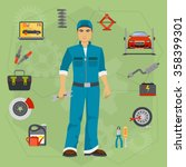car repair service concept with ... | Shutterstock .eps vector #358399301