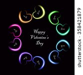 neon happy valentine's day card | Shutterstock .eps vector #358421879