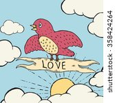 birds of love. hand drawn... | Shutterstock .eps vector #358424264
