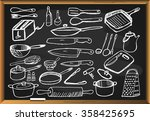 kitchen tools set on black... | Shutterstock .eps vector #358425695