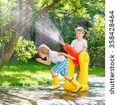 two funny little kid boys... | Shutterstock . vector #358428464