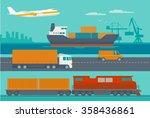 maritime rail and air transport ...   Shutterstock .eps vector #358436861