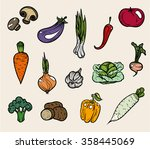 vegetable icons. vector... | Shutterstock .eps vector #358445069