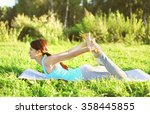 woman doing yoga stretching... | Shutterstock . vector #358445855