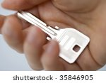 a silver key on the woman's hand | Shutterstock . vector #35846905