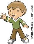 Boy Waving Vector Illustration
