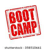 boot camp red stamp text on...
