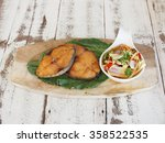 slice deep fried fish with side ... | Shutterstock . vector #358522535