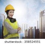 asian business woman smiling... | Shutterstock . vector #358524551