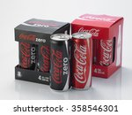 Small photo of Kuala Lumpur Malaysia December 28, 2015,new slim and tall design of cocacola zero and cocala original can