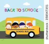 school bus filled with children ... | Shutterstock .eps vector #358547351