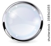 glass button with chrome frame. ... | Shutterstock . vector #358561055