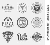 vector set of pizzeria labels... | Shutterstock .eps vector #358561331