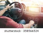 man driving car. vintage filter ...   Shutterstock . vector #358566524
