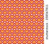 red hearts on a orange  pattern.... | Shutterstock .eps vector #358567811