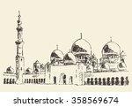 abu dhabi  sheikh zayed mosque  ... | Shutterstock .eps vector #358569674