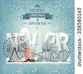 ferris wheel. winter carnival.... | Shutterstock .eps vector #358580165