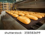 fresh hot baked bread loafs on... | Shutterstock . vector #358583699