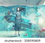 an underwater view in the...   Shutterstock . vector #358590809