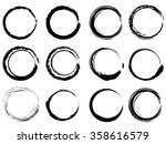 grunge circle brush strokes set | Shutterstock .eps vector #358616579