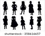vector set of standing young... | Shutterstock .eps vector #358616657