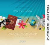 tourism website template  time... | Shutterstock .eps vector #358619561