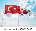 turkey   south korea flags are... | Shutterstock . vector #358625699