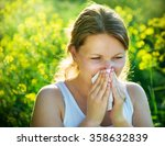Woman Suffering From Pollen...