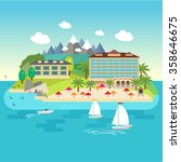 island in the sea with hotels ... | Shutterstock .eps vector #358646675