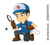 exterminator searching for bugs ... | Shutterstock .eps vector #358649354