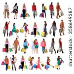 """collection """" back view of going ...   Shutterstock . vector #358649387"""